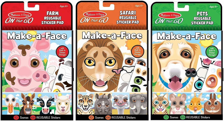 Melissa & Doug Make-A-Face Reusable Sticker Pad Animals 3 Pack (Safari, Farm, Pets), 97074,Multi