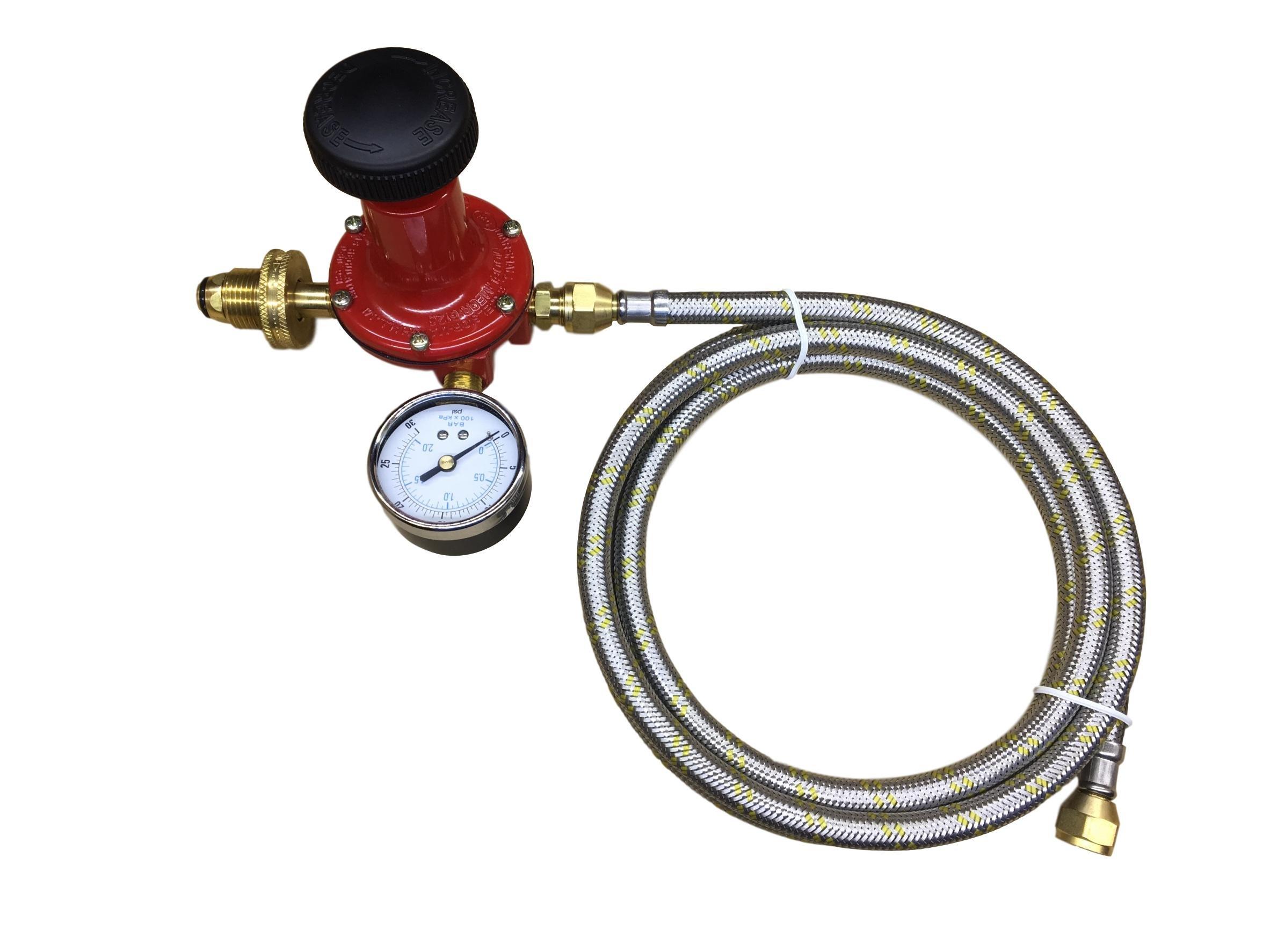 Propane LP Gas Adjustable 0-30psi High Pressure Regulator Soft Nose POL Brass Wheel Connector, Gauge and 6ft Stainless Steel Braided Hose