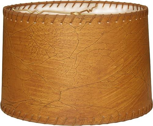 Royal Designs HB-624-16 Shallow Drum Lamp Shade, 15 x 16 x 10, Dark Leather