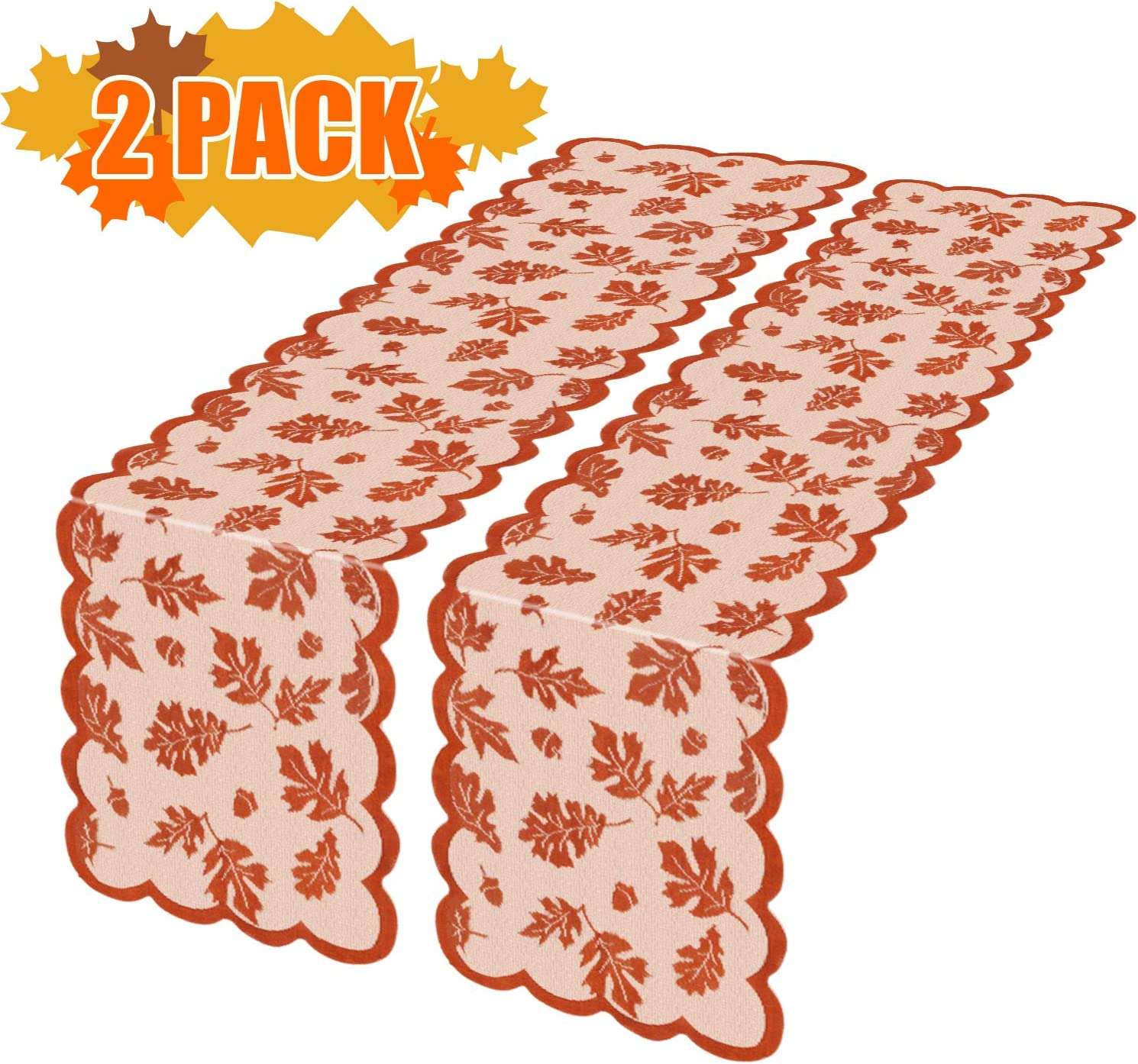Thanksgiving Table Runner with Maple Leaves, 2 Pack Fall Harvest Lace Dinner Table Decorations for Thanksgiving Party and Daily Use-Coffee Table,Outdoor Patio Table,Dessert Table etc,13 X 72 Inch…: Home & Kitchen