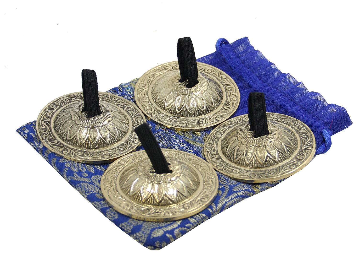 Dharma Objects 2 Pairs Brass Finger Cymbals Zills for Belly Dancing by Lungta Imports