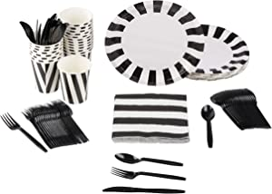 Black and White Party Bundle, Includes Plates, Napkins, Cups, and Cutlery (24 Guests,144 Pieces)