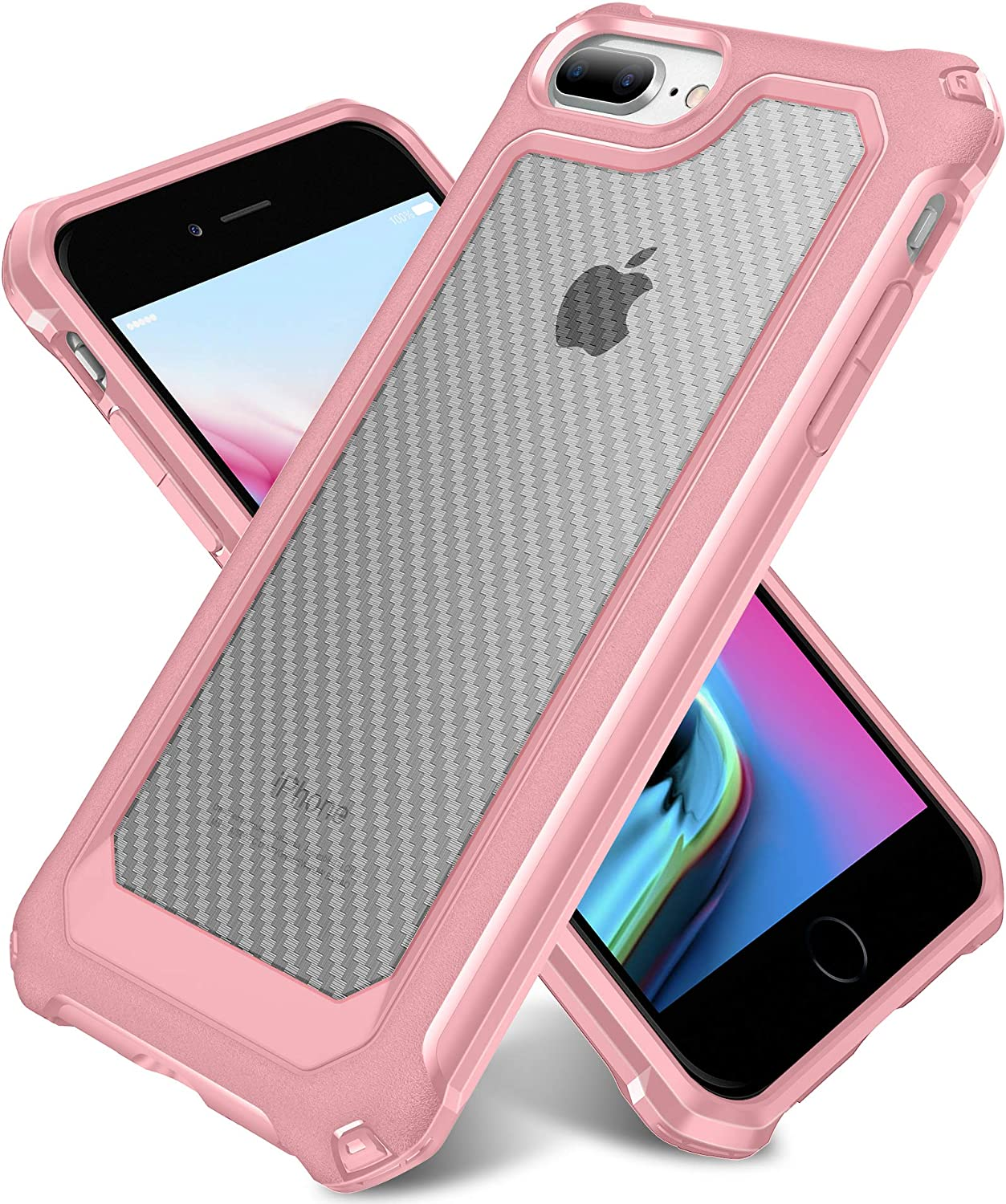iPhone 8 Plus Case, iPhone 7 Plus Case, SUPBEC Slim Carbon Fiber Shockproof Protective Cover with Screen Protector [x2] [Military Grade Drop Protection] [Anti Scratch&Fingerprint], 5.5