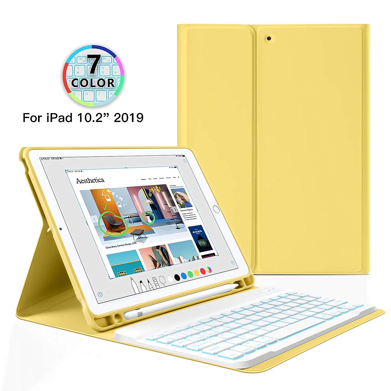 Tablet Bluetooth Rimovibile Tastiera BT Tastiera retroilluminata Smart Cover con Il Supporto della Matita,Nero,WithoutBacklit Aidashine Custodia con Tastiera per iPad 10.2 2019 7 Gen