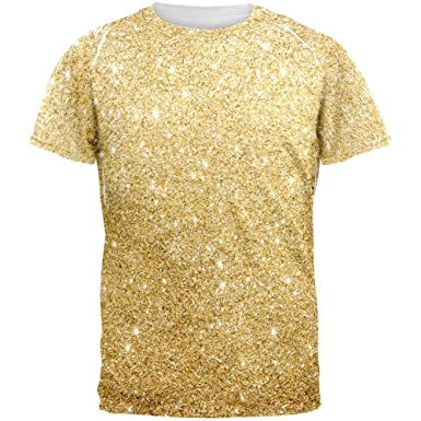 Amazon.com  Faux Gold Glitter All Over Mens T Shirt  Clothing e60847348c62