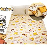 "Sunny Bear Neko Atsume Cat Print Soft Throw Blanket for Kids Adults Couch Bed,Janpanese Game Cat Pattern Blanket 59"" x 79"" (L)"