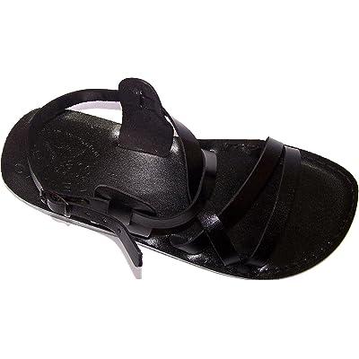 Holy Land Market Unisex Genuine Leather Biblical Sandals (Jesus - Yashua) Black Style II | Sandals