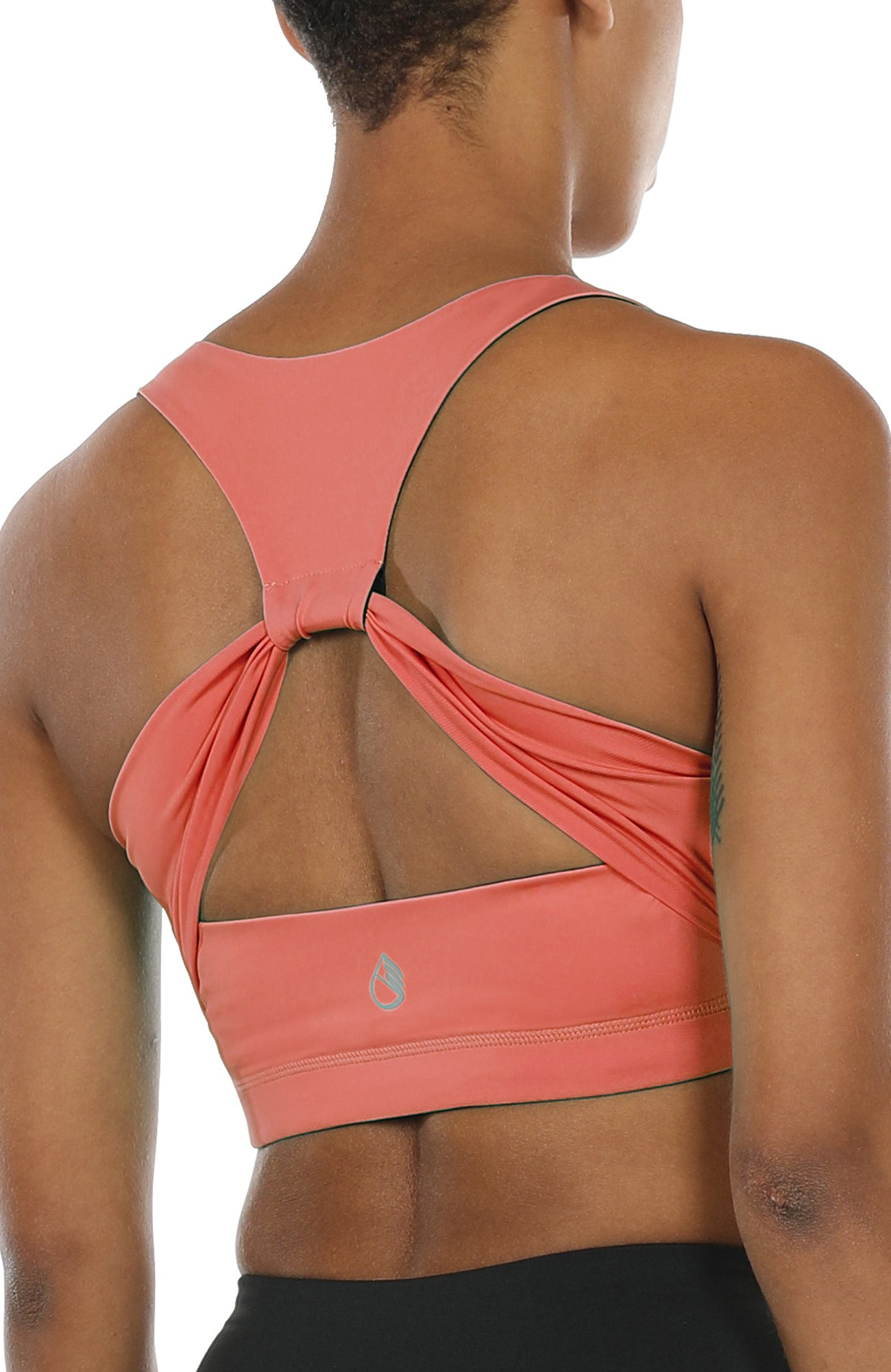 icyzone Workout Yoga Clothes Activewear Moving Comfortable Racerback Sports Bras (M, Fusion Coral)