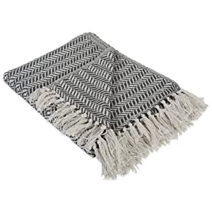 "DII Modern Farmhouse Cotton Herringbone Blanket Throw with Fringe For Chair, Couch, Picnic, Camping, Beach, & Everyday Use , 50 x 60"" - Herringbone Chevron Mineral Gray"