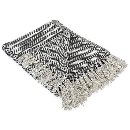 d6fbf24b4ea28 DII Modern Farmhouse Cotton Herringbone Blanket Throw with Fringe For  Chair
