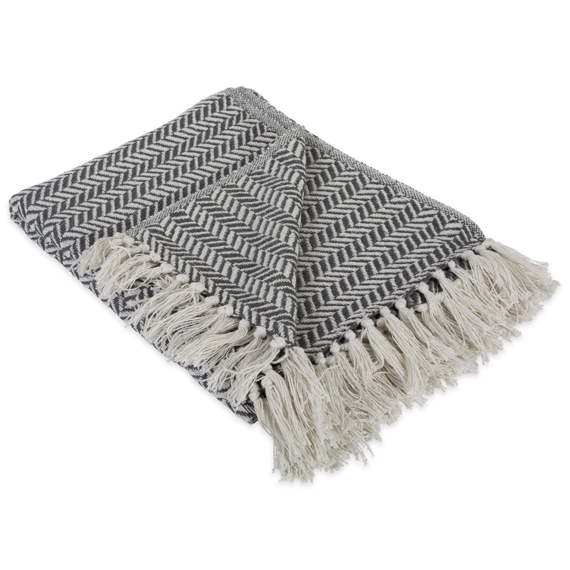 DII Modern Farmhouse Cotton Herringbone Blanket Throw with Fringe For Chair, Couch, Picnic, Camping, Beach, & Everyday Use , 50 x 60'' - Herringbone Chevron Mineral Gray by DII