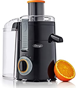 Omega C2000B Chute High Juicer Makes Fresh Fruit and Vegetable Juice Features 3 Speeds Compact Design Large 4-Cup Pulp Container, 250W, Black
