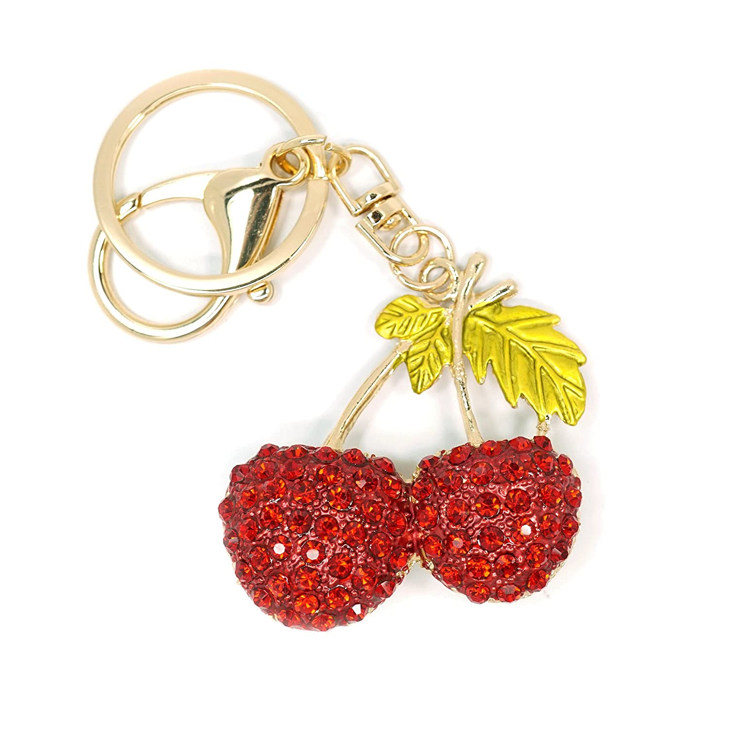 Teri's Boutique Red Cherry Fruit Lover Cute Crystal Rhinestone Bling Keychain