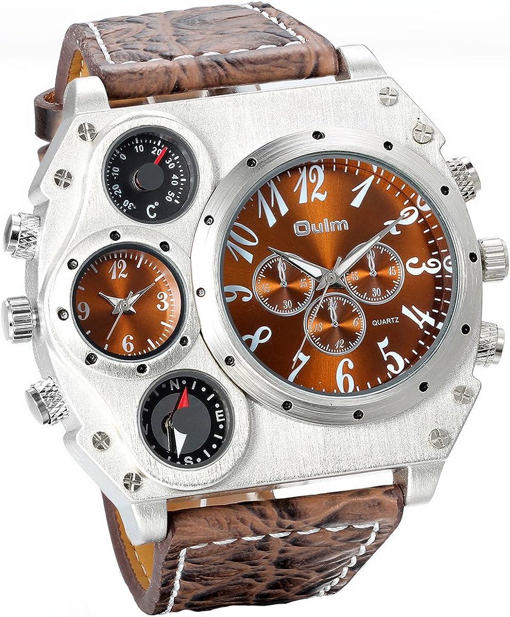 Jewelrywe Reloj Ronda Geniales Pantalla Brújula Termómetro Dual Time Dial