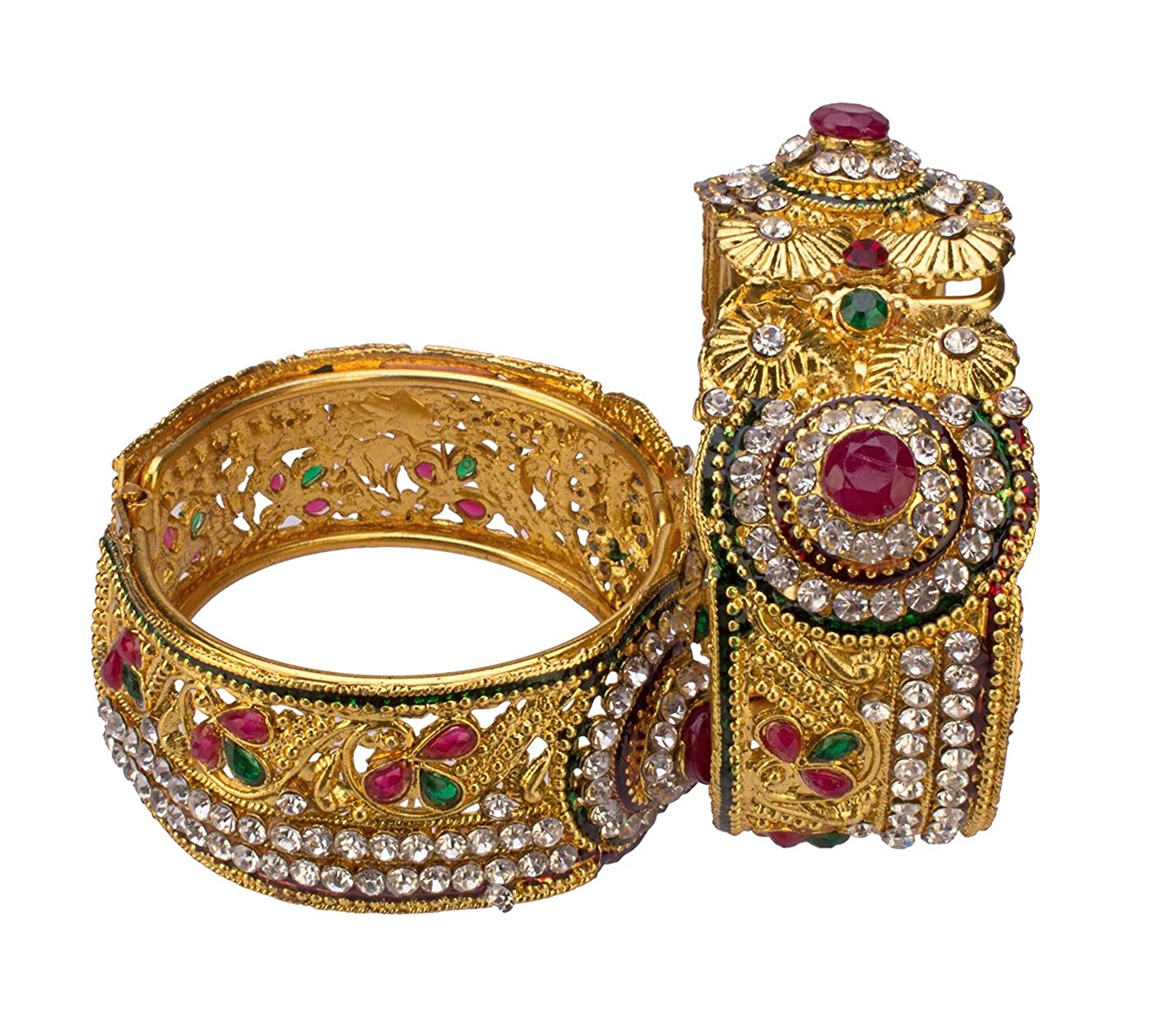 JDX Gold Plated Bangles Set for Women and Girls Size_Adjustable