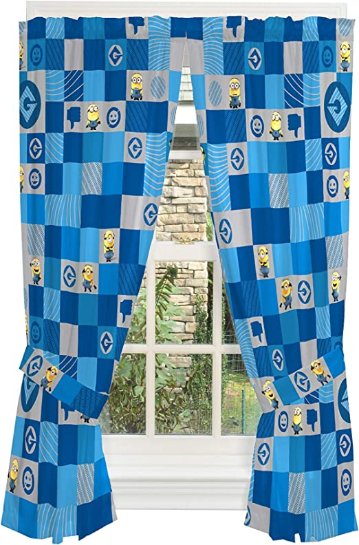 Amazon Com Universal Despicable Me 3 Minions Kids Room Window Curtain Panels With Tie Backs 82 X 63 Blue Home Kitchen
