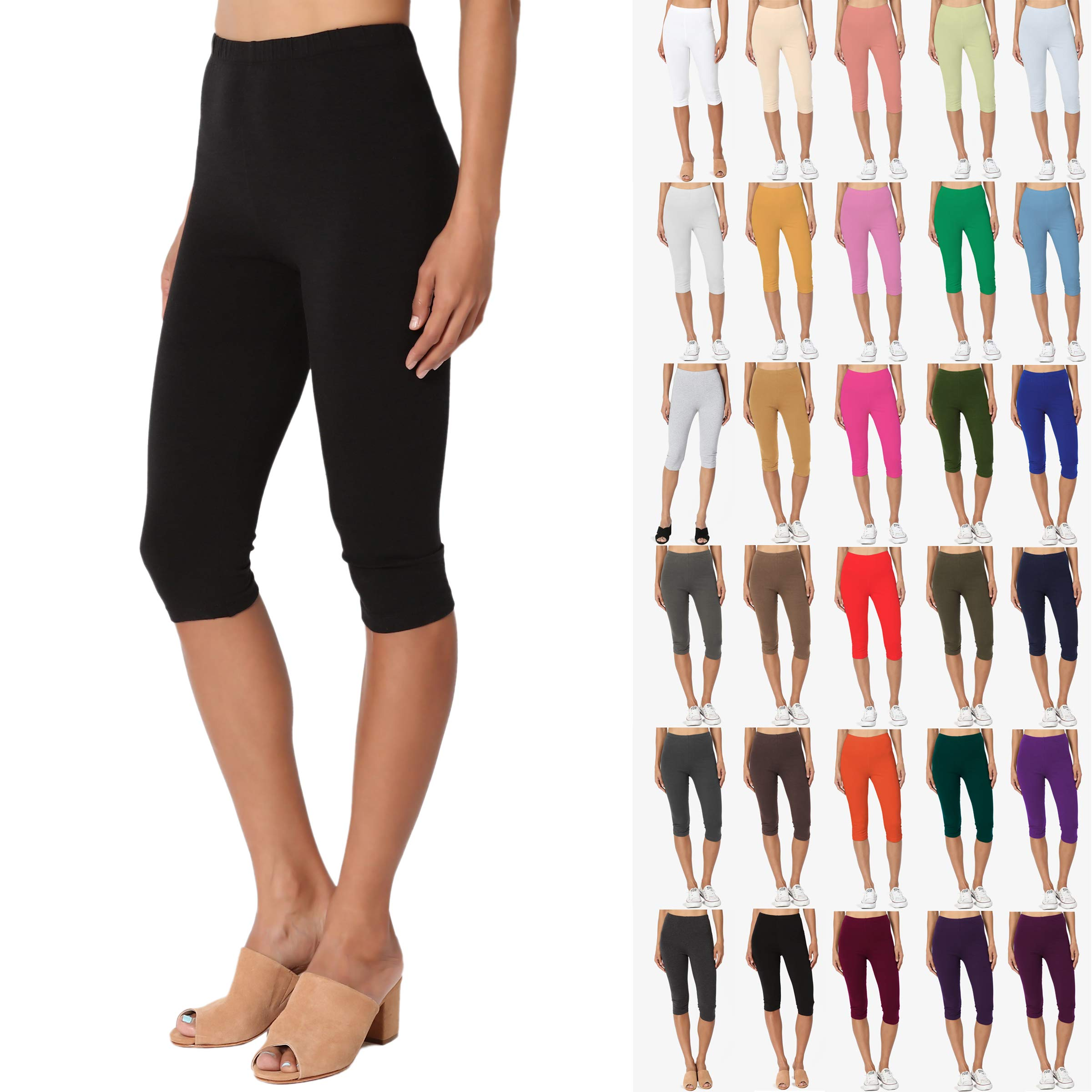 771bc4c93b2d5f TheMogan Essential Basic Cotton Spandex Stretch Below Knee Length Capri  Leggings < Leggings < Clothing, Shoes & Jewelry - tibs