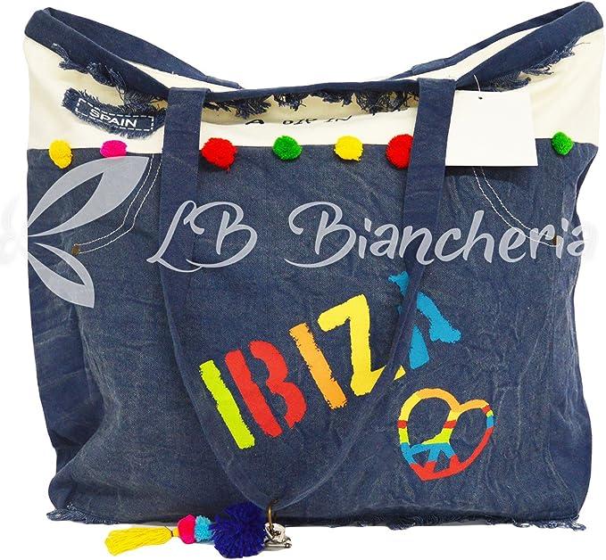 RP Bolsa Playa Playa Maxi de algodón pesado con asas y cremallera Ibiza: Amazon.es: Hogar