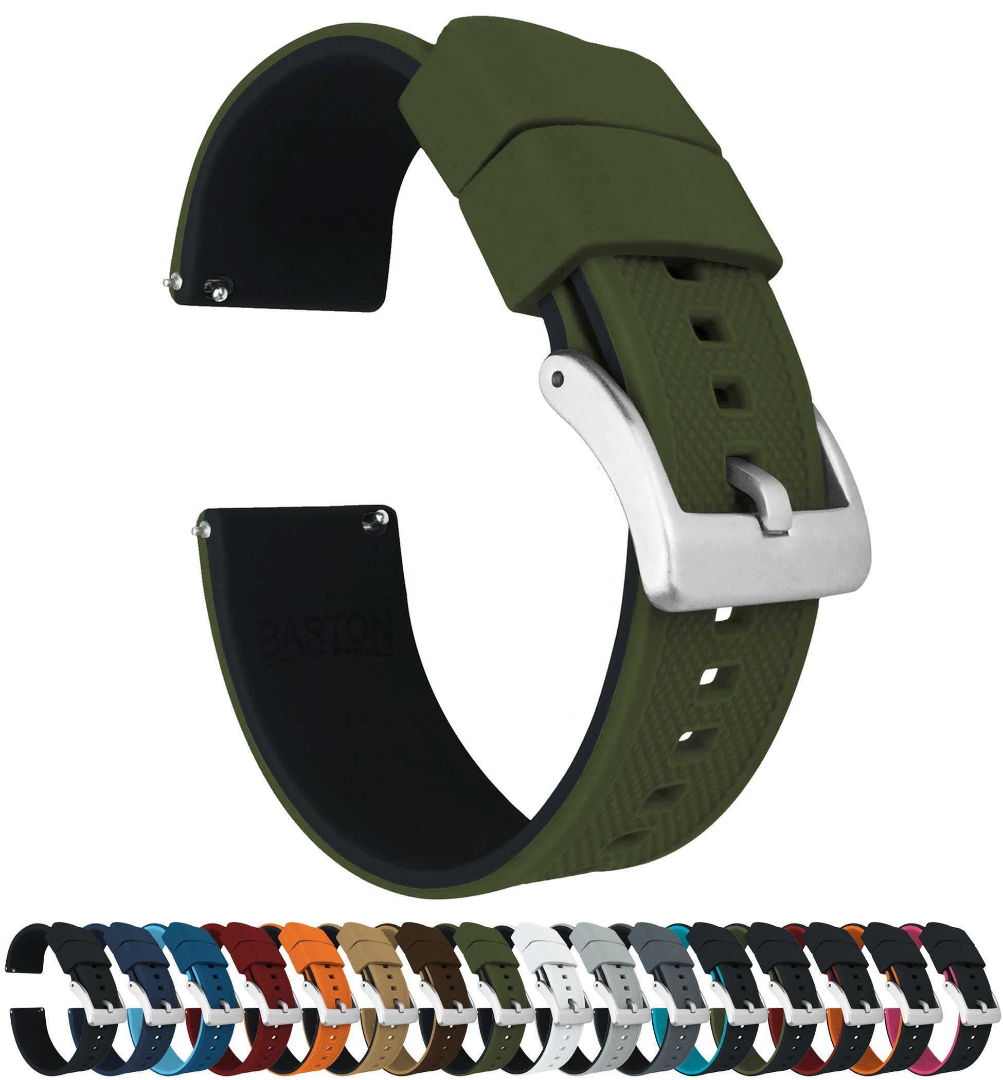 Barton Elite Silicone Watch Bands - Quick Release - Choose Color - 18mm 19mm 20mm 21mm 22mm 23mm & 24mm Watch Straps