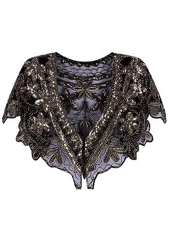 1777b2afee Vijiv Women's 1920s Shawl Deco Sequin Beaded Evening Cape Bolero Flapper Cover  Up For Wedding Black