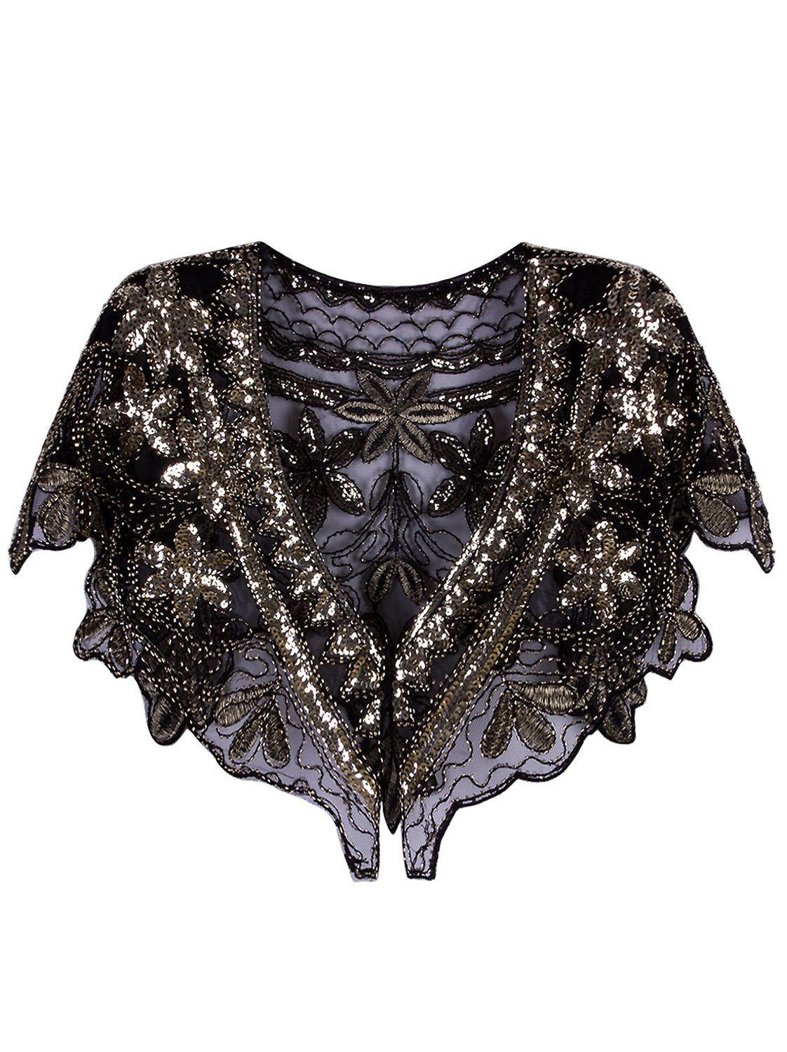 Vijiv Women's 1920s Shawl Deco Sequin Beaded Evening Cape Bolero Flapper Cover Up For Wedding Black Gold