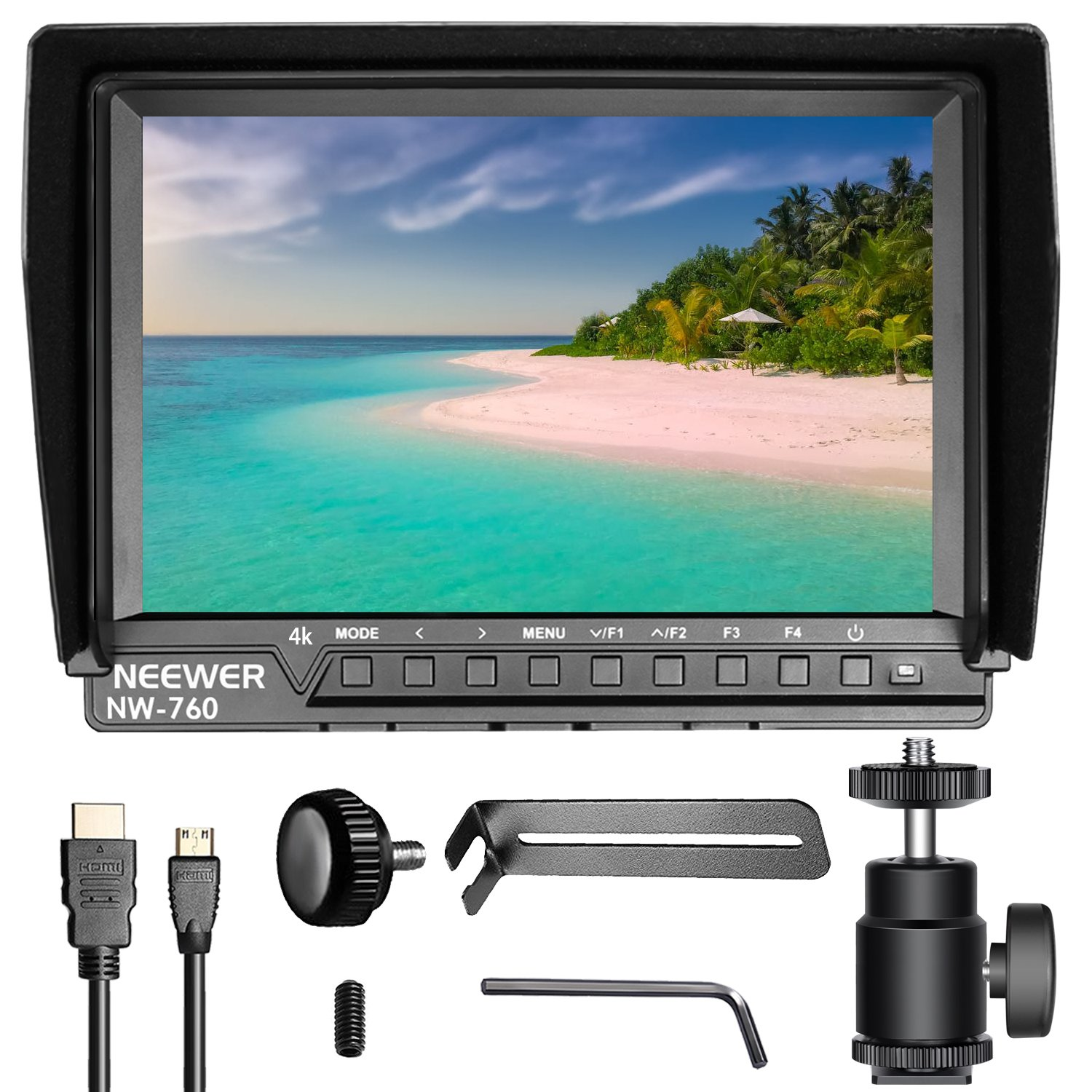 Neewer 7-inch Field Monitor with VGA/AV/HDMI Input IPS Screen 800:1 Contrast 800x480 High Resolution for Canon Nikon Sony Olympus DSLR Cameras and Camcorders (NW708-M) (Battery NOT Included) 10089508