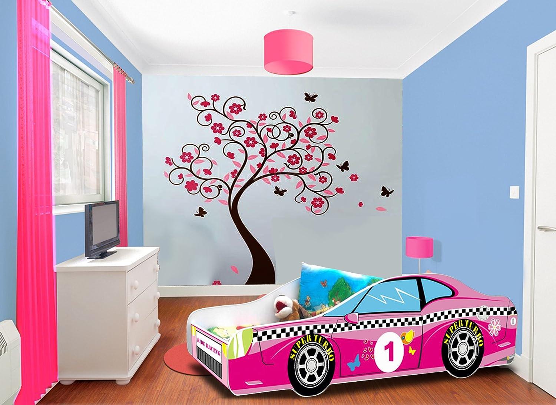 Cama infantil, diseño de coche, color rosa, colchón somier ...