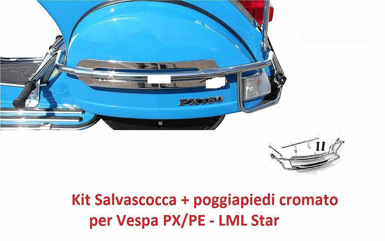 SALVASCOCCA POSTERIORE cromato per vespa PX // LML star 125/150/151/200 cc PARAURTO/PROTEZIONE RMS
