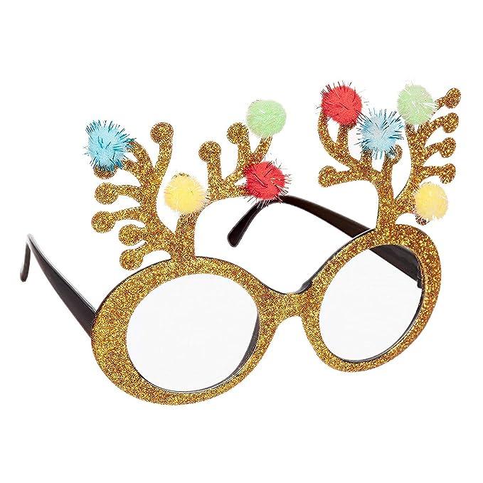 649083b11f4b CHRISTMAS NOVELTY GLASSES - PARTY CHRISTMAS GLASSES XMAS PUDDING CHRISTMAS  TREE RED SANTA (Gold Glitter Antlers)  Amazon.co.uk  Sports   Outdoors