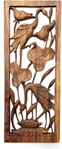NOVICA Floral Large Suar Wood Relief Panel, Brown, Herons in A Lotus Pond'
