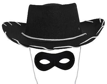 3c646448d2849 CHILDS COWBOY FANCY DRESS ACCESSORY SET - BLACK COWBOY HAT PLUS ...