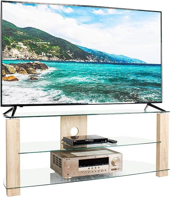 RFIVER Mueble de TV Salon de Esquinero de Cristal de Ancho de 120cm con Patas de Madera para Television hasta 60 Pulgadas con 3 Estantes TS3002: Amazon.es: Electrónica