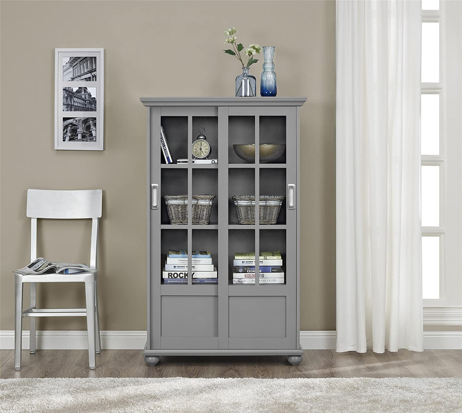Amazon.com: Ameriwood Home Aaron Lane Bookcase With Sliding Glass Doors,  Soft Gray: Kitchen U0026 Dining