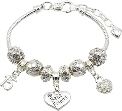 45 /& 50 20 21 40 16 Jewellery Hut Special Friend Birthday Charm Bracelet with Gift Box Ages Available 13 30 25 15 35 18