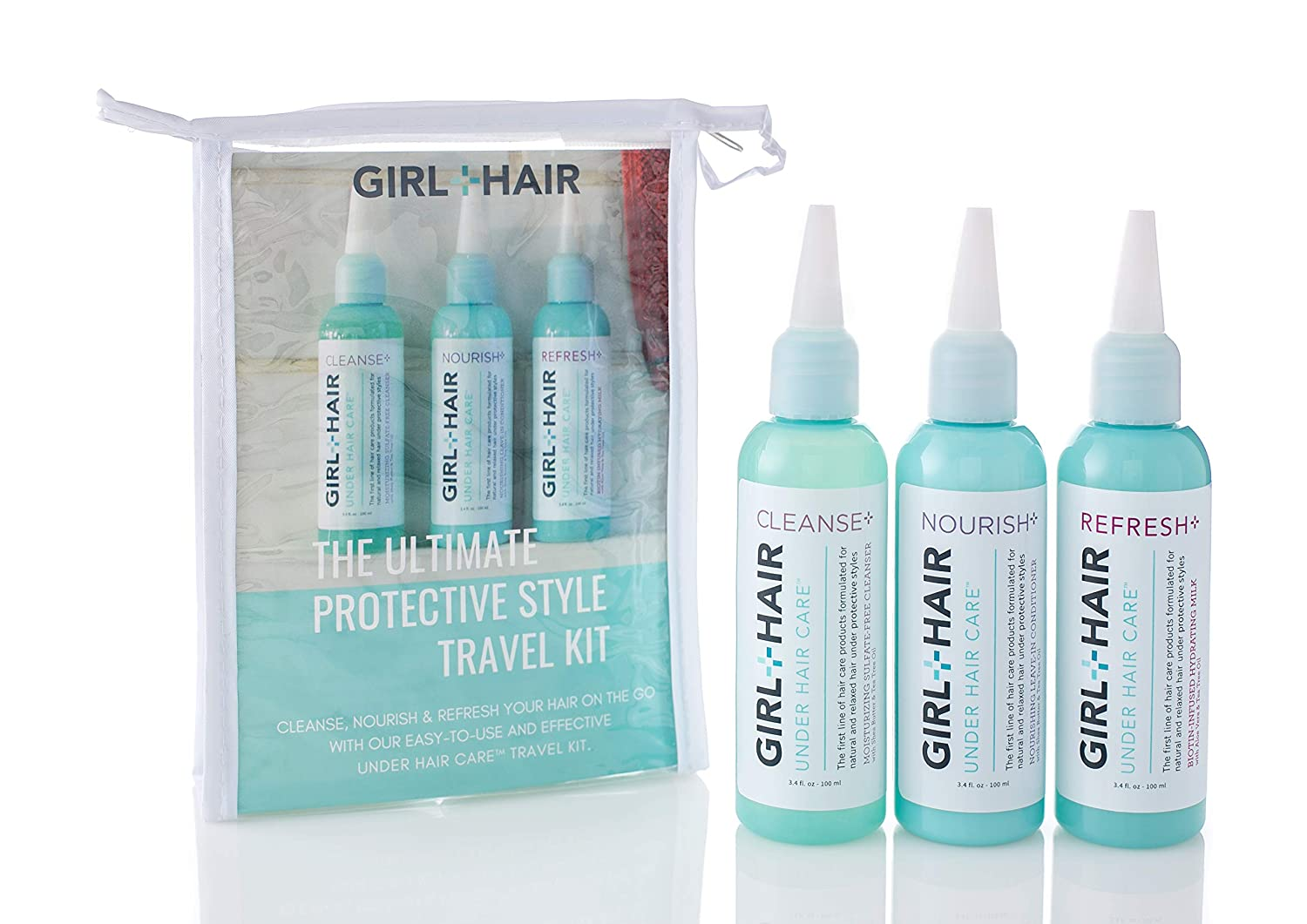 Girl+Hair Natural Hair Products, Under Hair Care Travel Kit, Encorage Hair Growth with Trial Sizes of Nourish - Cleanse - Refresh, 3.4 Fl Oz./100ml Each…