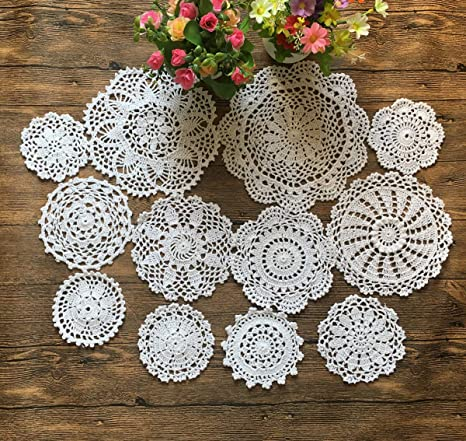 Table Linen Round Lace Doily Round Table Doily White Crocheted Doily Round Crocheted Doily Vintage 21 Round Doily Large Round Doily