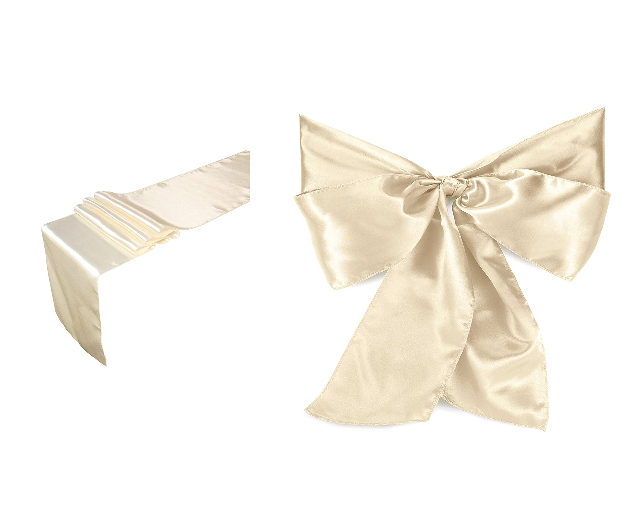 Elina Home Combo Satin 10 Table Runner & 50 Bow Sashes Tablerunner and Chair Wedding, Ivory