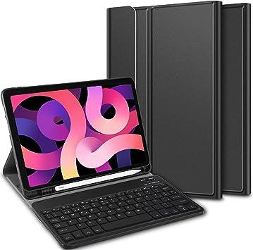 ELTD Teclado Estuche para iPad Air 4 10,9 2020 Teclado,[Español, con la tecla (ñ)], Protectora Cover Funda con Desmontable Wireless Teclado, (Negro)