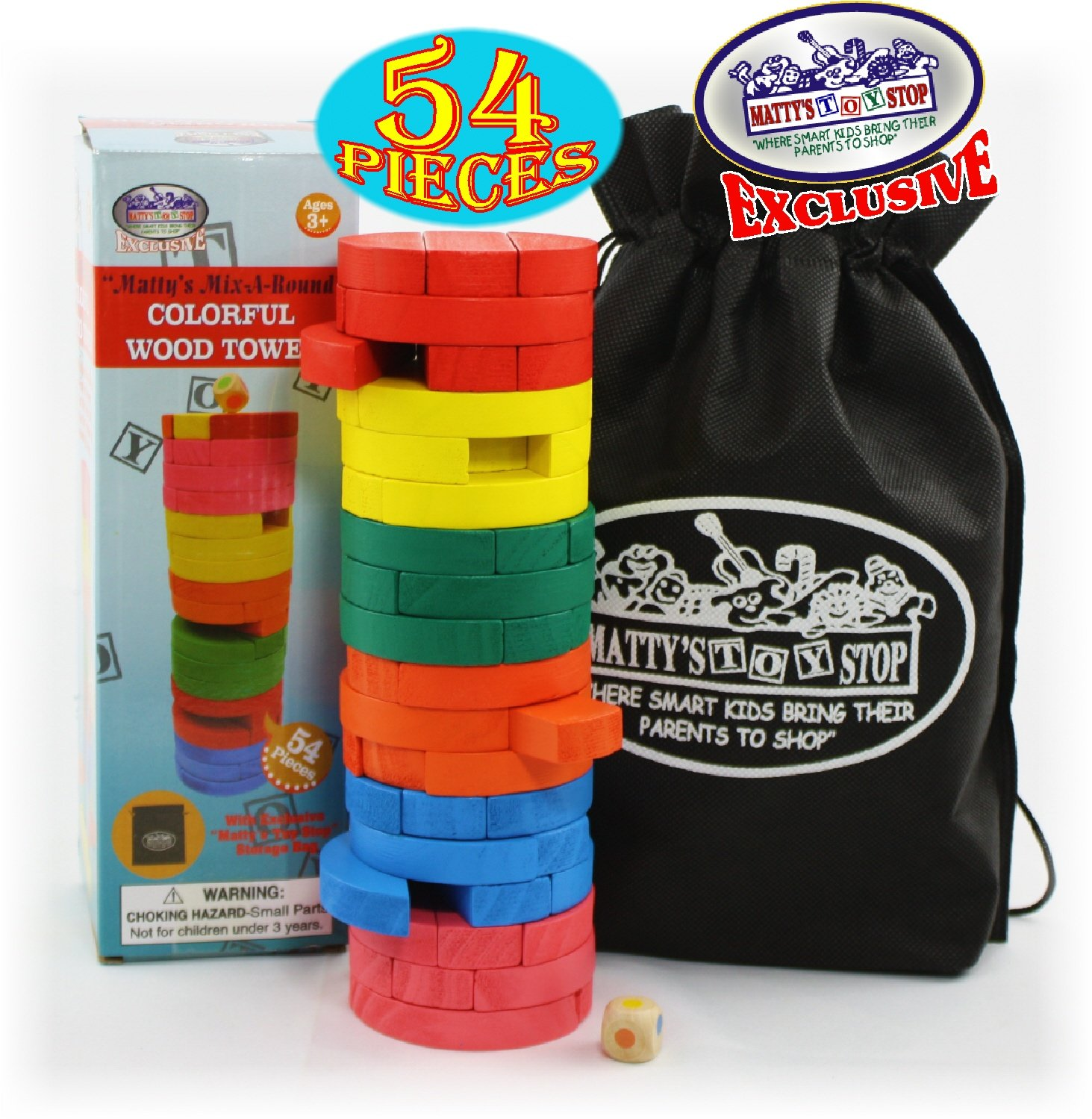 """Matty's Mix-A-Round"" 54pcs Round Colorful Wooden Tumble Tower Homeware"