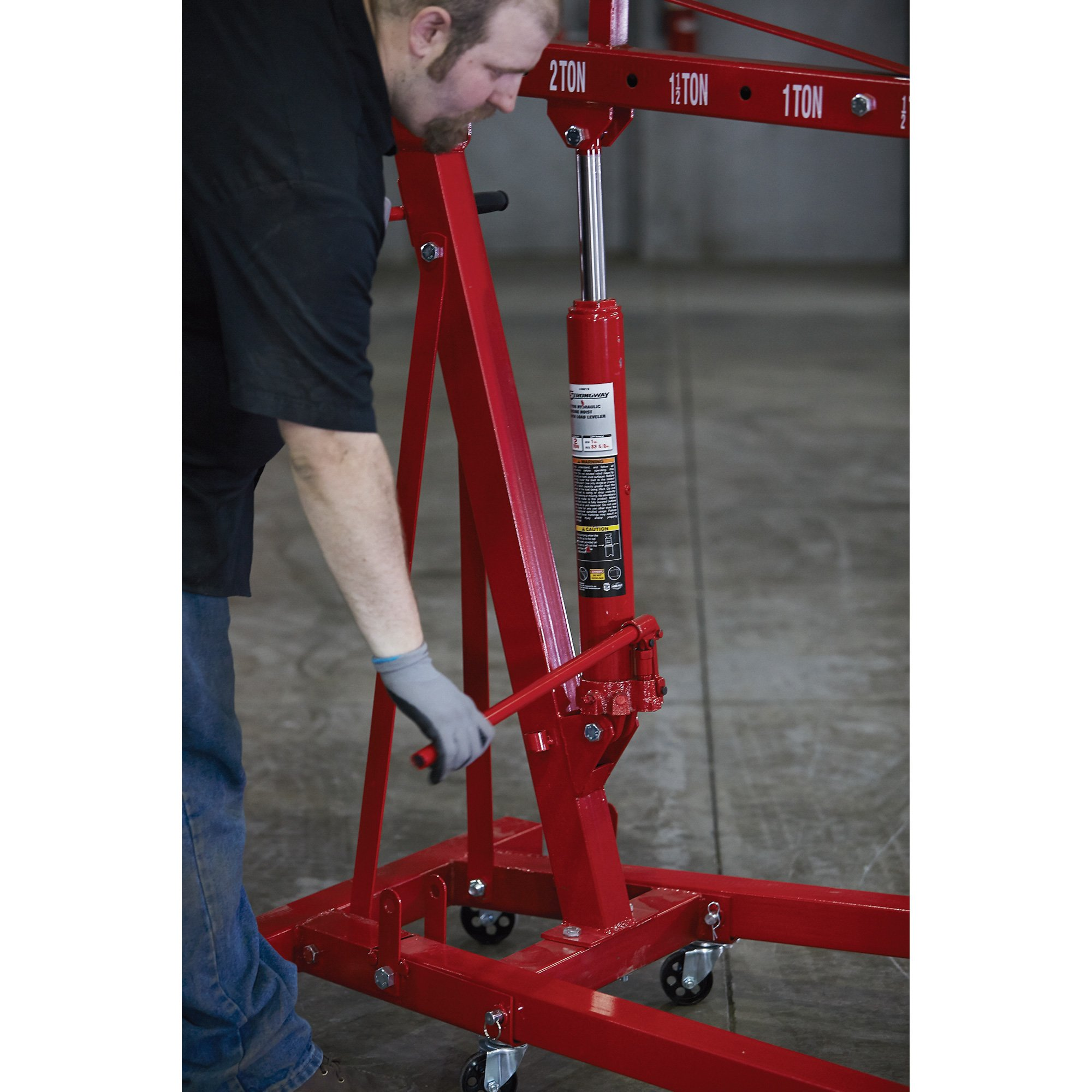 Strongway Hydraulic Engine Hoist with Load Leveler - 2-Ton Capacity, 1in.-82 5/8in. Lift Range by Strongway