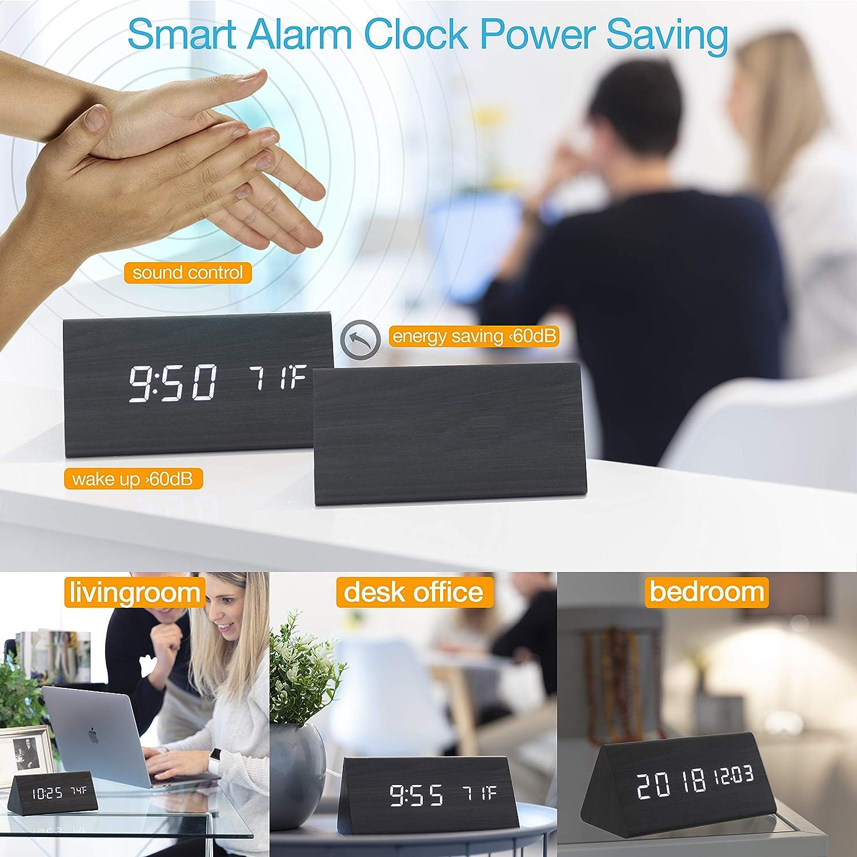 Temperature Wireless Battery Power Modern Black Wooden LED Digital Electronic Bedside Shelf Desk Display Calendar Date USB Charger Dimmable AZbornaz Wood Alarm Clock Block Voice Control
