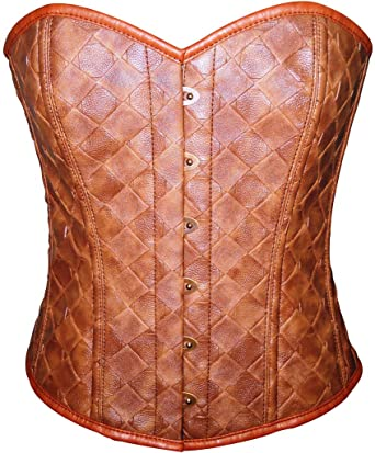 Image Unavailable. Image not available for. Color  Brown Faux Leather  Gothic Steampunk Waist Cincher Bustier Overbust Corset Top 2a97bd804c