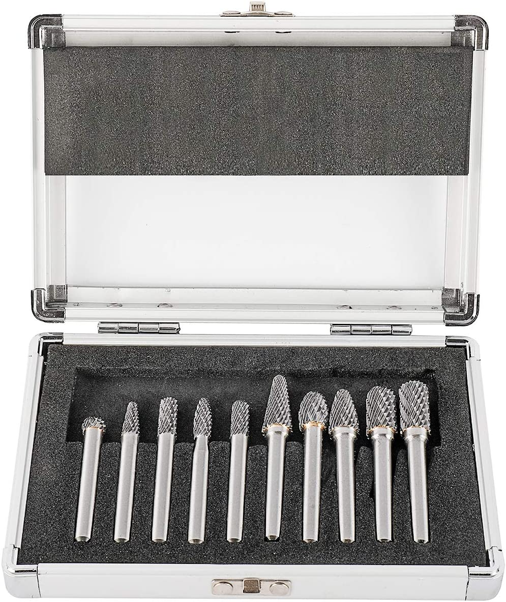 Toolly 10Pcs Carbide Burr Set on 1//4 Shank Assorted Double Cut Solid Carbide Rotary Burr Set for Grinder Drill
