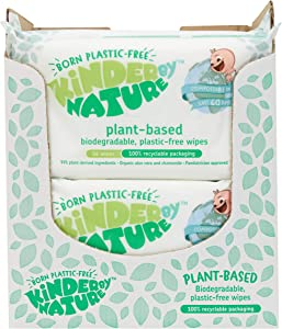 Kinder by Nature Plant Based Baby Wipes - 100% Biodegradable & Compostable, 672 Count (12 Packs of 56) - 99% Plant-Based Ingredients, 0% Plastic
