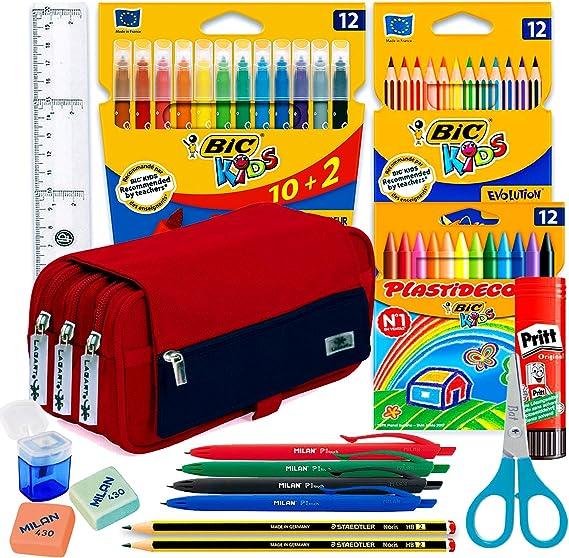 Estuche Escolar Pack material escolar kawaii Estuches Grandes ...