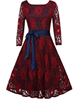 OUGES Women's Half Sleeve Flare Lace Bow Cocktail Party Dress