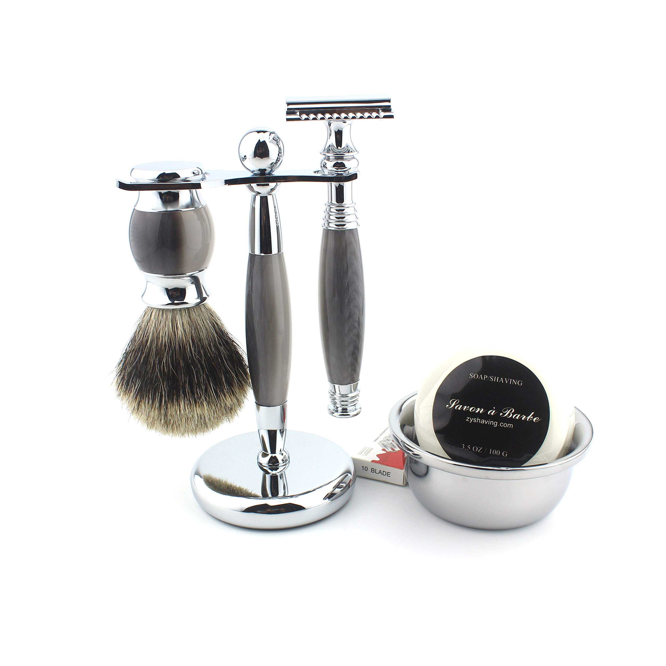 Shaving Gift Kit for Men,Yunlep Luxury Grooming Wet Shaving Set Including Razor with 10 Replacement Blades,Chrome Stand,Bowl,Shaving Soap,Shaving Brush (Gray) by Yunlep