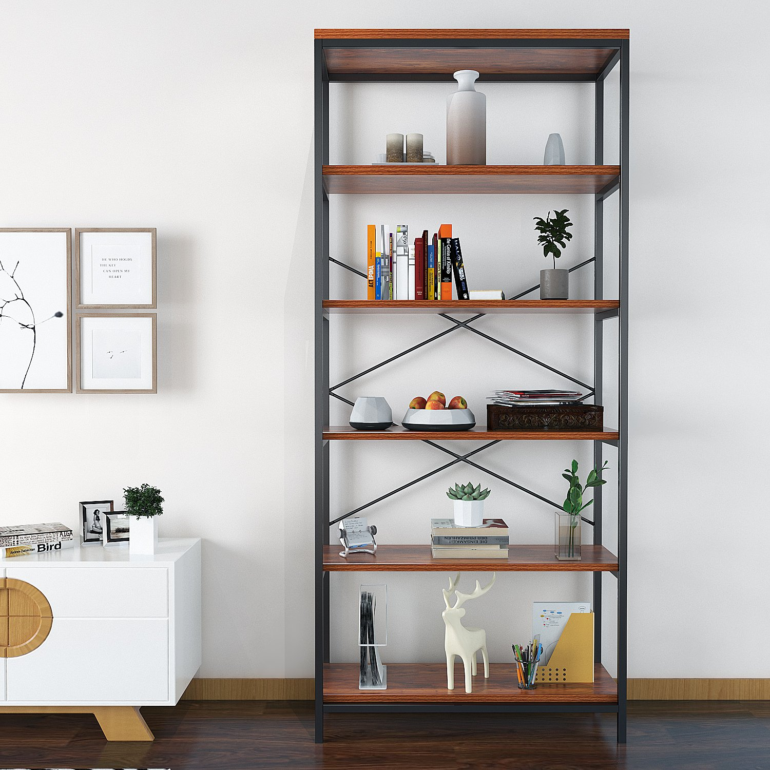 Kemanner 5-Tier Industrial Style Bookcase, Vintage Free Standing Bookshelf, Rustic Wood Bookcases Furniture Brown-1