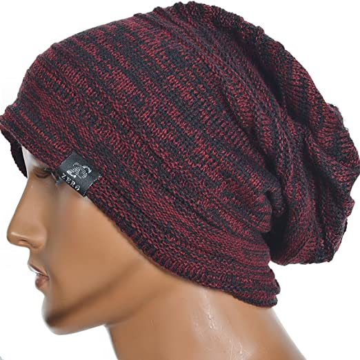 Men's Vintage Baggy Slouchy Red with Black Knit Beanie Skull Cap Hat Available in 20 Different  Colors and Patterns by FORBUSITE