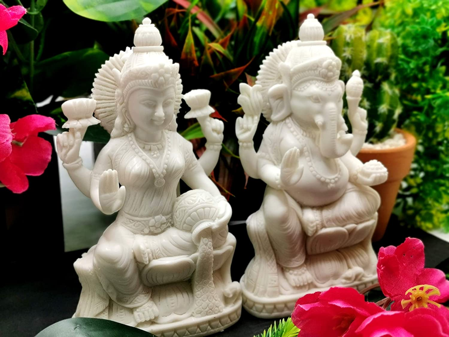 Laxmi Ganesha carving in marble dust 5.5 inches Diwali special gift Lakshmi Ganesh statue in pristine white